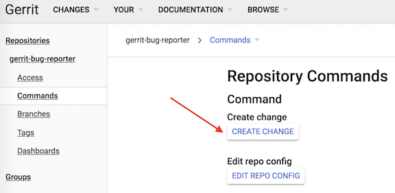 Creating and editing changes in the gerrit web interface.